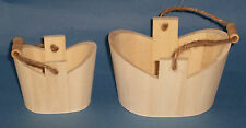 Set of 2 Small Wooden Buckets with string and wood handles natural wood