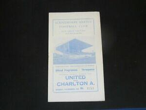 1960-61  DIV 2 SCUNTHORPE UNITED v CHARLTON ATHLETIC ( POSTPONED )