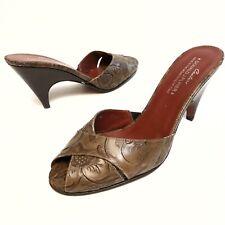 ✅💟✅$ Donald J. Pliner Couture Brown Zoya  Slides 7.5 Floral Embossed Leather