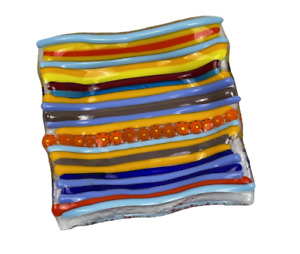 Square Wavy Fused Glass Trinket Dish with Recycled Glass Base Beautiful & Bright