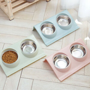 PET DOG CAT FEEDER BOWL FEED FOOD WATER DISH STAINLESS STEEL DUAL BOWL FADDISH