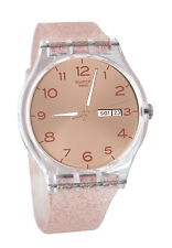 Swatch SUOK703 Pink Glistar Day Date Dial Transparent Silicone Unisex Watch NEW
