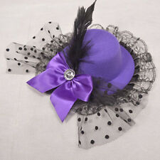 1PC Cute Women Bow Hair Clips Lace Feather Top Mini Hat Fascinator Fancy Party