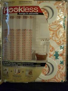 "Hookless Coral Verveine Plaine Weave 71""×74"" Shower Curtain Brand New."