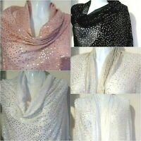 NEW SPOTTED SCARF GLITTER SCARVES  WEDDING WRAPS COVER UP SILKY STOLES SHAWLS
