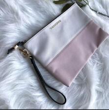 Victoria Secret VS Clutch Gold accent Pink White zip Wristlet