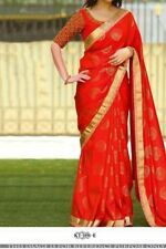 Red Color Silk Jacquard Fabric Heavy Party Wear Designer Blouse saree Kt 3191