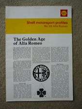 "ALFA ROMEO SHELL MOTOR SPORT PROFILE "" Book""  jm"