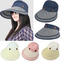 Women Ladies Wide Large Brim Summer Beach Sun Straw Hat Visor Removable Cap 167