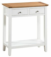 Large Oak and White Painted Console Table | Wooden Hall Side/End/Telephone Table