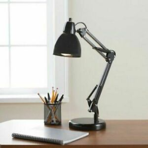 Old Style Black Finish Architect Task Desk Work Lamp with Fluorescent Bulb