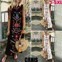 US New Womens Sleeveless Boho Print Party Casual Maxi Dress Long Dresses Summer