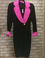 ST JOHN size 2 Santana Knit Faux Wrap Black Dress Fuchsia Collar / Cuffs LBD