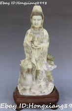 """12"""" Chinese Shoushan Stone Kwan-yin Guan Quan Yin Goddess Buddha Dragon Statue"""