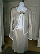 Tory By TRB Silver/Gold Glitter Cotton Blend Separates As 2pc Skirt Suit Sz 8
