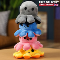 Reversible Octopus Plush Double-Sided Flip Toy Squid Stuffed Doll Toys UK