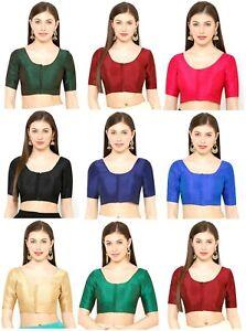Women Dupion Silk Readymade Saree Blouse Ethnic Wear Top Tunic Sari Blouse Piece
