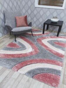 Pink Grey Cream Thick Chunky Living Room Silky Carpets Rugs Modern Heavy Shaggy