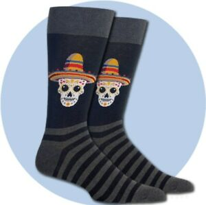 Sombrero Sugar Skull Socks by Hot Sox
