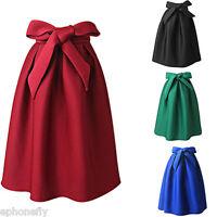 Women Ladies High Waist A-line Ball Gown Pleated Swing Long Maxi Skirt Dress
