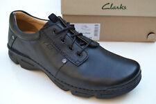 Clarks BNIB Mens Active Air Casual Shoes RICO PARK Black Leather UK 9.5 / 44
