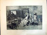Original Old Antique Print 1871 Ruin Man Lady Family Home Romance Green 19th