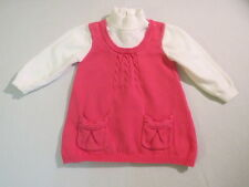 """Gymboree """"Super Star"""" Pink White Cable Knit Mock Turtleneck Tunic Top, 18-24 mos"""