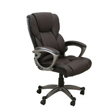 Brown PU Leather High Back Office Chair Executive Task Ergonomic Computer Desk&