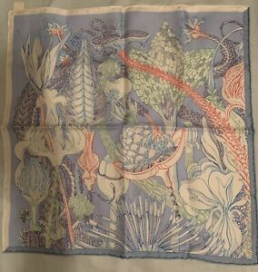 NWT Hermes Fantaisie Botanique Silk 45cm Gavroche Pocket Square Virginie Jamin
