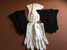 Lot of 4 Ladies Vintage Gloves 2 prs White/2 prs Black