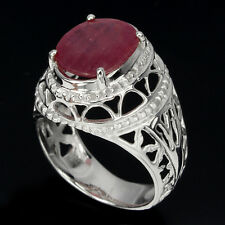 GORGEOUS OVAL 13x11mm.TOP RICH RED PINK RUBY STERLING 925 SILVER MEN'S RING SZ11