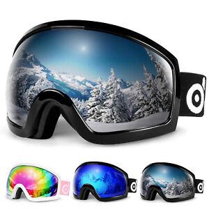 OTG Ski Goggles Double Lens Anti-fog Winter Windproof UV400 Eyewear for Adult