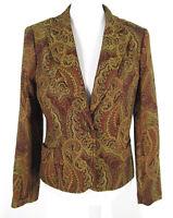 "August Silk Blazer Sz 10 Paisley Jacket All Season ""Gem"" Button Gold Maroon"
