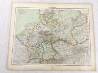 1898 Französisch Map Of Deutschland Reich Bavaria Bohème 19th Jahrhundert Antik