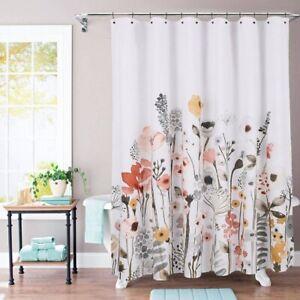 "THRESHOLD Floral Wave Shower Curtain | 72"" x 72"" | White | 🆕"