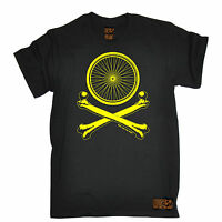 WHEELS AND CROSSBONES T-SHIRT tee cycling jersey funny birthday gift present him