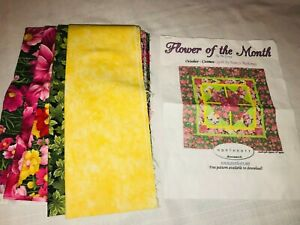 """Northcott Monarch Flower of the Month October Cosmos Quilt KIT & Fabrics 30"""""""