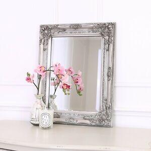 Rhone Wall Mirror - French Baroque Rococo Vintage Chic- 42x53cm - Antique Silver