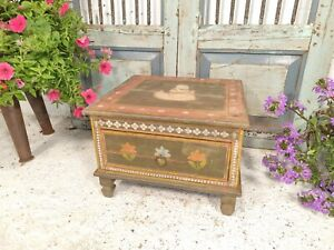 Vintage Indian Hand Made Painted Drawer Unit Side Table Plant Stand
