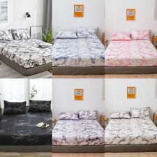 Marbling Fitted Sheet Deep 25cm Bed Comfort King Queen Size Flat Bed Sheets