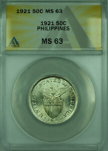 1921 50C Philippines ANACS MS-63 50 Centavos Silver Coin KM#171 (C)