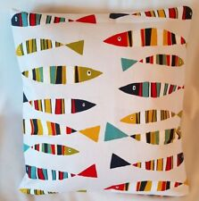"14"" 16"" 18""New Cushion Cover Red Blue Yellow Green Sardines Fish Print Handmade"