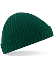 Beechfield BEANIE HAT FISHERMAN TRAWLER STYLE RETRO VINTAGE HIPSTER LOOK KNITTED