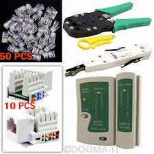 RJ45 Network Cable Crimping Tool BT Punch Down + Keystone Jack & Connectors