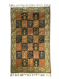 Antique Kashmiri Suzani Silk Hand Embroidered Shawl Table Cloth Rug 90x150cm