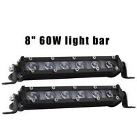 8'' 60W LED Work Light Bar Off Road Truck SUV Car Spotlight Floodlight Fog Lamp