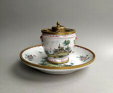 Antique 19th C. French Faience Veuve Perrin Ink Stand Inkwell gilt brass mounted