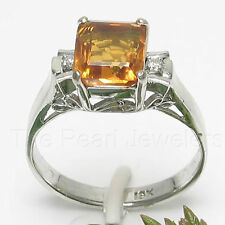 Baguette Genuine Citrine 18k White Solid Gold with Diamonds Solitaire Ring TPJ
