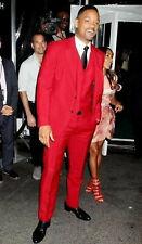 Men Red Designer Wedding Grooms Stylish Dinner Suit (Jacket+Vest+Pants)