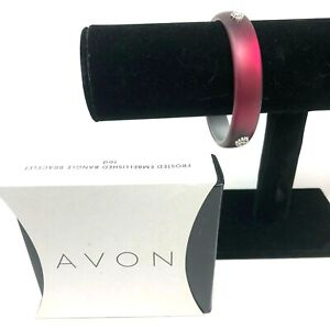 Avon Bangle Bracelet Cherry Red Frosted Silvertone Charm Embellished